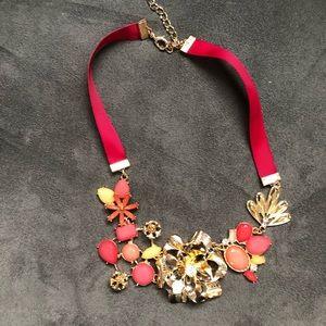 Pink flower collar necklace